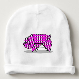 Cute origami Pig Illustration Baby Beanie