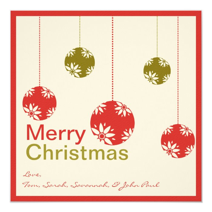 Cute Ornaments Merry Christmas Cards