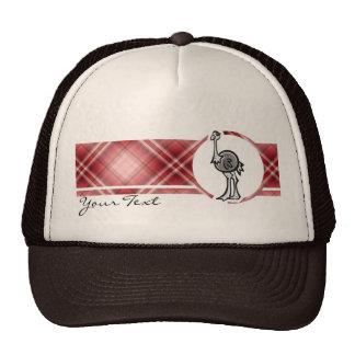 Cute Ostrich; Red Plaid Trucker Hat