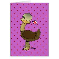 Cute ostrich wink card