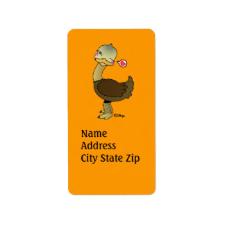 Cute ostrich wink label