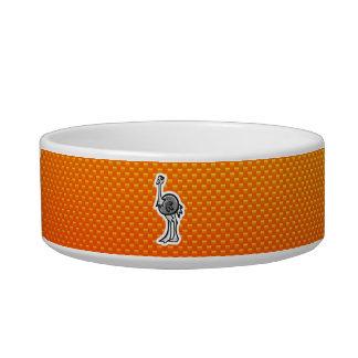 Cute Ostrich; Yellow Orange Pet Food Bowls