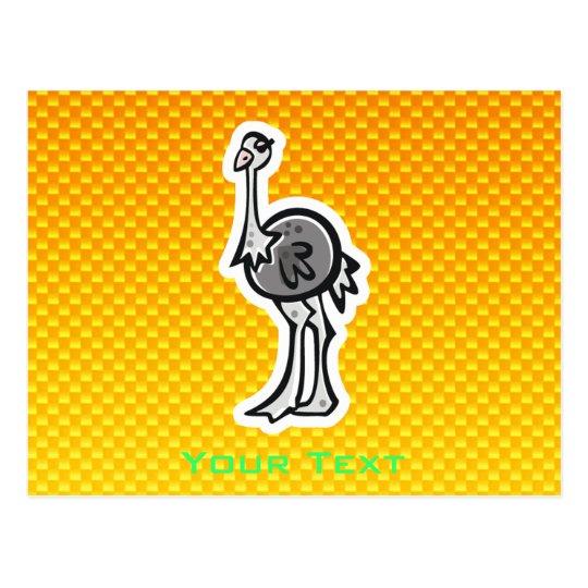 Cute Ostrich; Yellow Orange Postcard