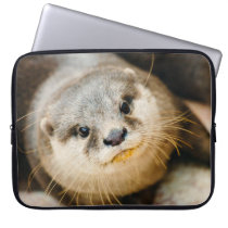 Cute Otter, Animal Portrait, Nature Photography Laptop Sleeve