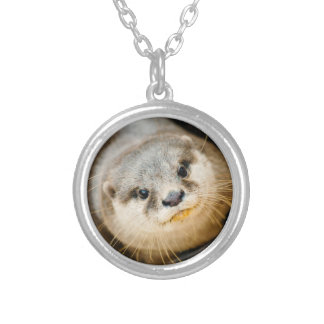 Cute Otter, Animal Portrait, Nature Photography Round Pendant Necklace
