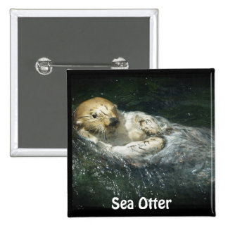 Cute Otter Design for Animal-lovers Button