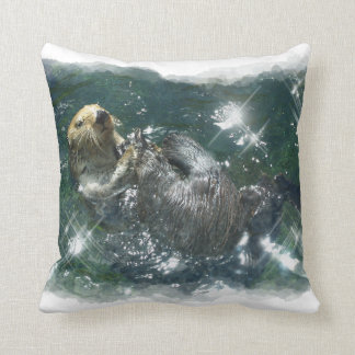Cute Otter Design for Animal-lovers Throw Pillow