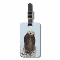 Cute Otter Face Nature Photo Bag Tag