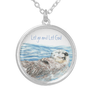 Cute Otter Inspiring Quote Let Go Let God Round Pendant Necklace