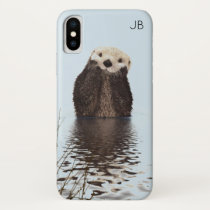Cute Otter Standing in a Pond Holding his Face iPhone X Case