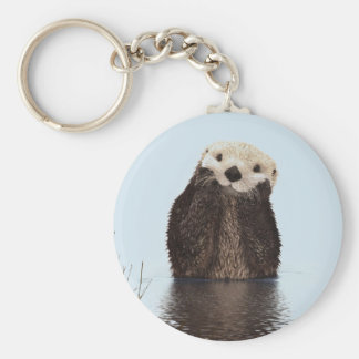Cute Otter Standing in a Pond Holding his Face Keychain
