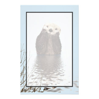 Cute Otter Standing in a Pond Holding his Face Stationery
