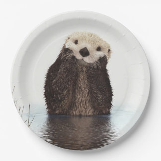 Cute Otter Wildlife Image Paper Plate