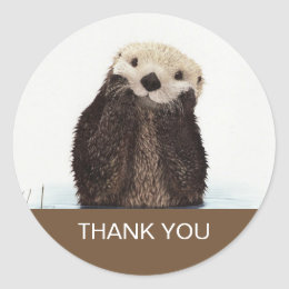 Cute Otter Wildlife Image Thank You Classic Round Sticker