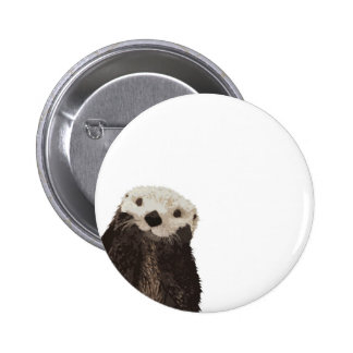 Cute otter with room to add your own text pinback button