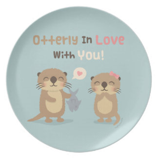 Cute Otterly in Love With You Otter Pun Plate