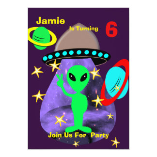 Cute outer Space Alien Themed Birthday Party Card