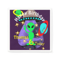 Cute outer Space Alien Themed Birthday Party Paper Napkin