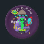 """Cute outer Space Alien Themed Birthday Party Paper Plate<br><div class=""""desc"""">A cute paper plate for all those kids having a Outer Space themed  birthday party. A fun picture of planets,  stars, ,  space ships,  and a cute little green alien outer.  Don&#39;t forget to change the name,  age and message if required,  there&#39;s no extra cost.</div>"""