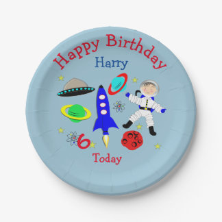 Cute outer Space Themed Birthday Party 7 Inch Paper Plate