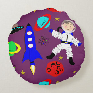 Cute Outer Space Themed Round Pillow