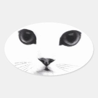 Cute Oval Kitty Cat Face Oval Sticker