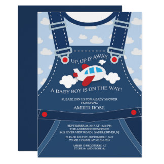 Delightful Cute Overalls Airplane Baby Shower Invitation