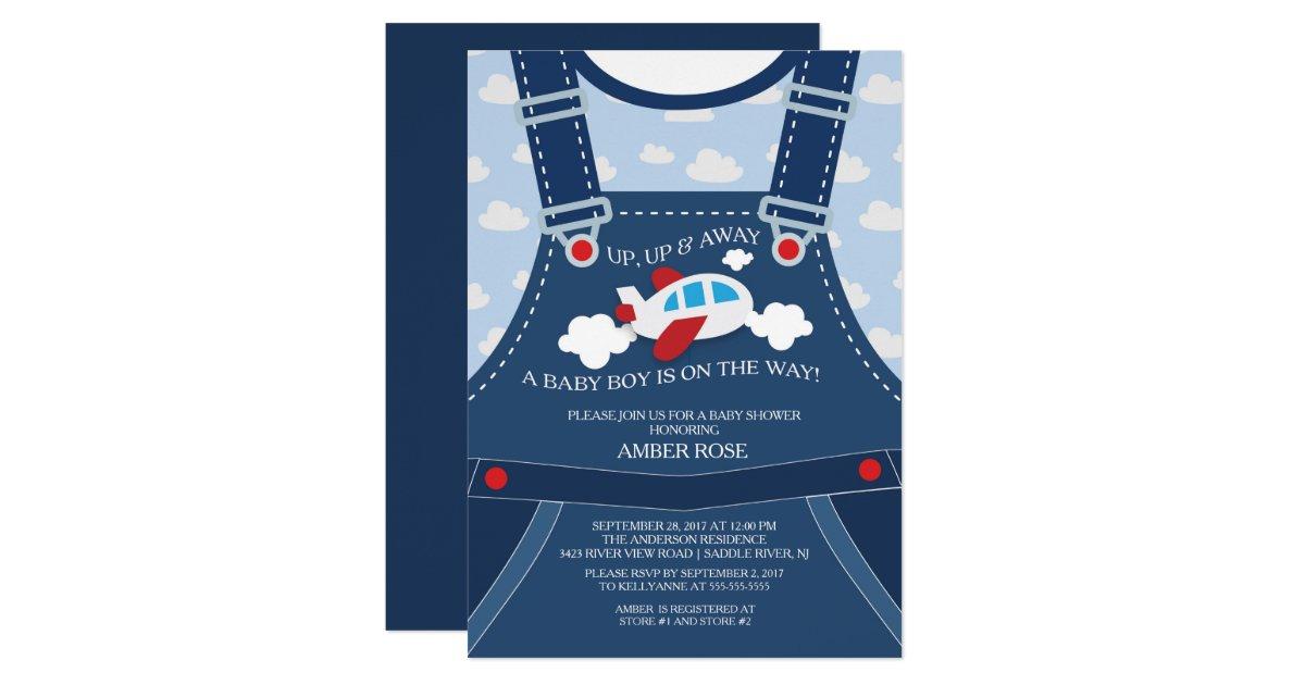 Cute Overalls Airplane Baby Shower Invitation | Zazzle.com