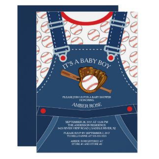 Cute Overalls BASEBALL Baby Shower Invitation