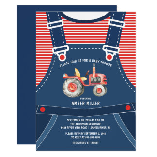 Cute Overalls Farm Tractor Baby Shower Invitation