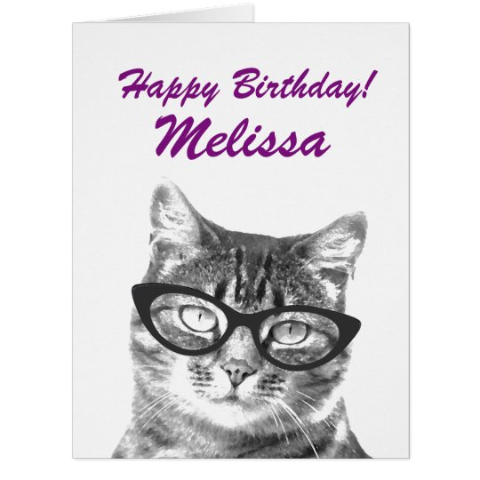 Cute Oversized Birthday Card With Funny Cat Image Zazzle