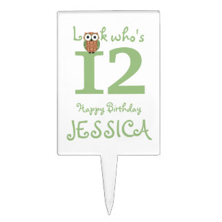 Cute Owl 12th Birthday Cake Topper