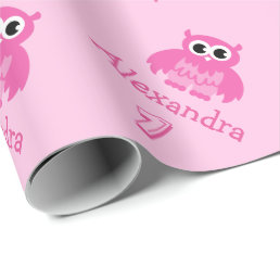 Cute owl 1st Birthday baby girl wrapping paper