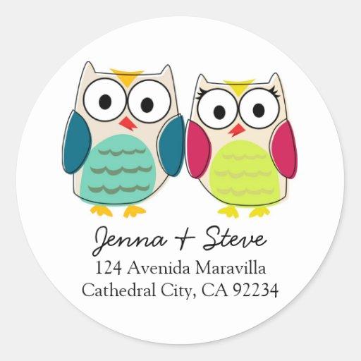 Cute Owl Address Labels Classic Round Sticker