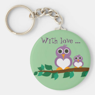Cute owl and baby on tree basic round button keychain