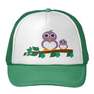 Cute owl and baby on tree mesh hats