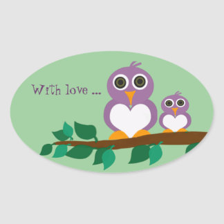 Cute owl and baby on tree oval sticker