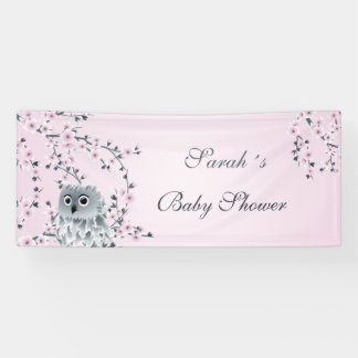 Cute Owl and Cherry Blossoms Baby Shower Banner