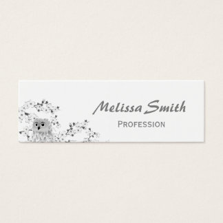 Cute Owl And Cherry Blossoms Black And White Mini Business Card