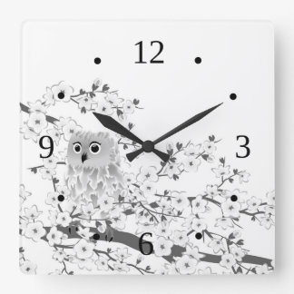 Cute Owl And Cherry Blossoms Black And White Square Wall Clock