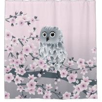 Cute Owl and Cherry Blossoms Shower Curtain