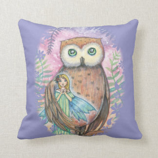 Cute Owl and Faerie Throw Pillow