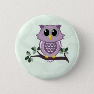 Cute Owl and Flowers Button