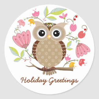 Cute Owl and Flowers Holiday Greetings Stickers