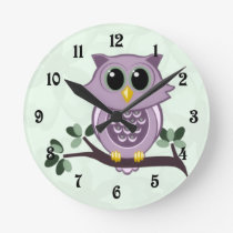 Cute Owl and Flowers Wall Clock
