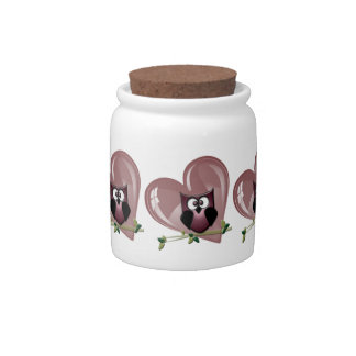 Cute Owl and Heart Candy Jar