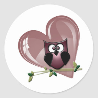 Cute Owl and Heart Gifts Classic Round Sticker