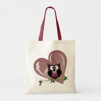 Cute Owl and Heart Gifts Tote Bag