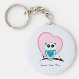 Cute Owl and Heart Template Keychain