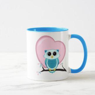 Cute Owl and Heart Template Mug